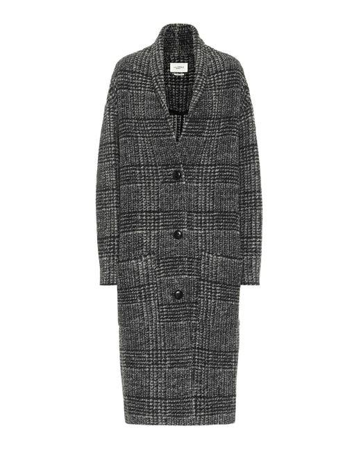 Étoile Isabel Marant Black Elayo Checked Wool-blend Coat