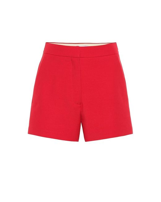 Shorts a vita alta in misto lana di Valentino in Red