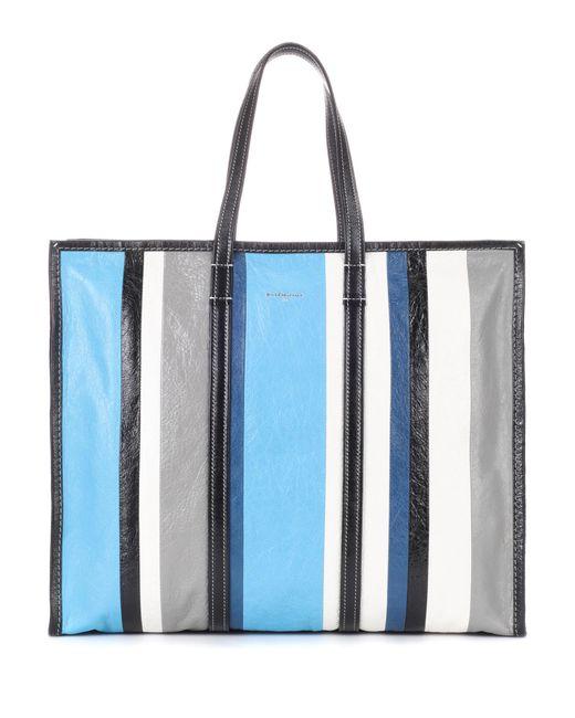 Balenciaga - Blue Bazar L Leather Shopper - Lyst