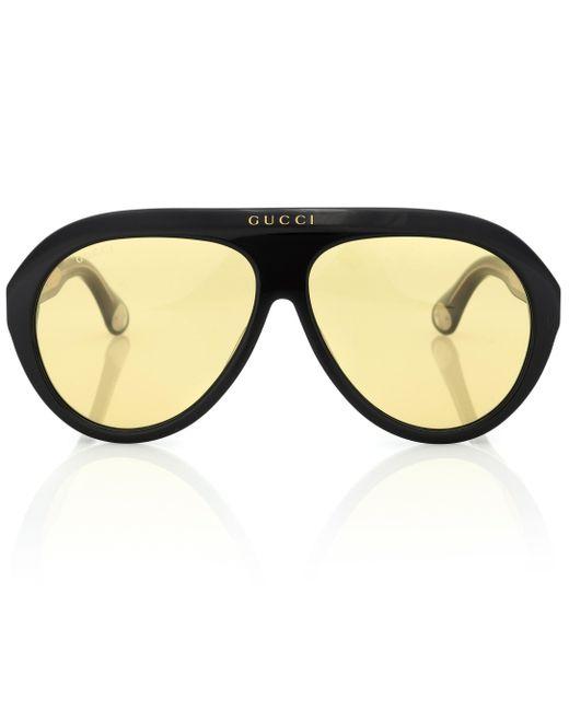 343c0b412f Gucci - Black Navigator Acetate Sunglasses - Lyst ...