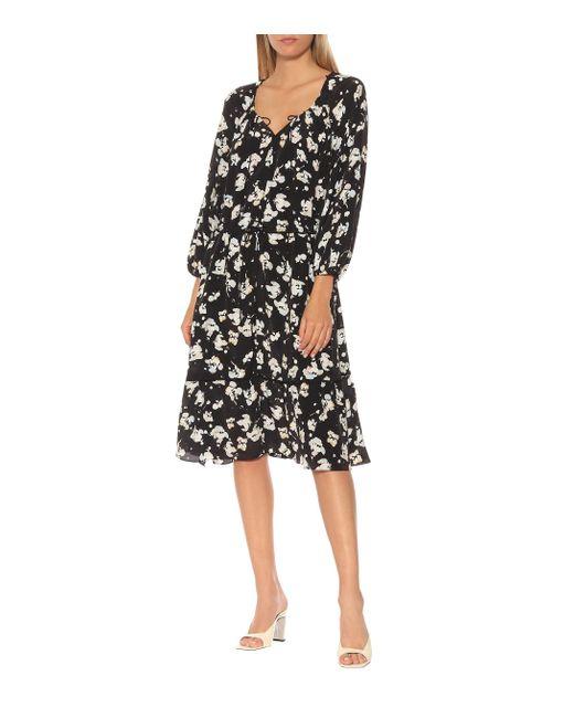 Robe Artistic Blossoms imprimée en soie mélangée Dorothee Schumacher en coloris Black