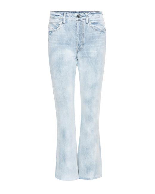 Helmut Lang Blue High-rise Raw Crop Jeans