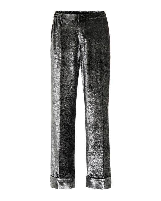 F.R.S For Restless Sleepers Metallic Etere Velvet Wide-leg Pants