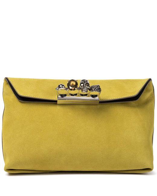 Alexander McQueen Yellow Clutch Four Ring aus Veloursleder