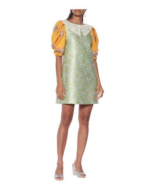 Miu Miu Green Minikleid aus Brokat