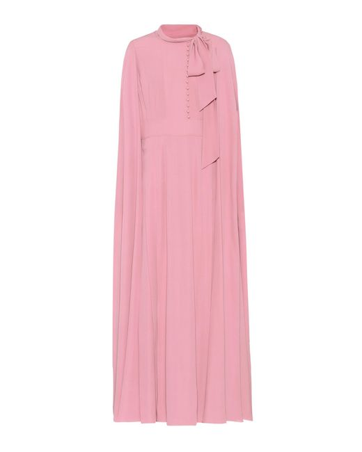 Valentino - Pink Caped Silk Dress - Lyst