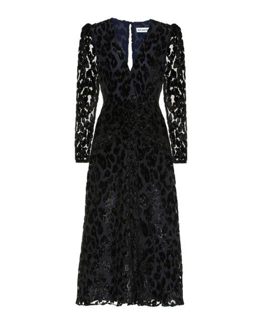 Self-Portrait Black Metallic Leopard-dévoré Midi Dress