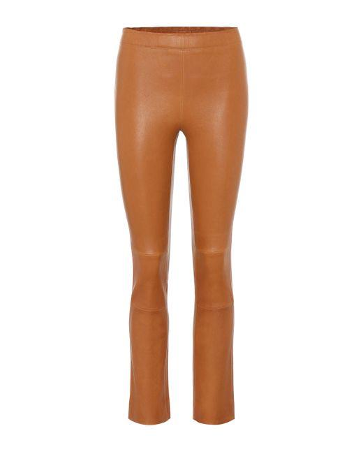 Pantalon Maria Rosa raccourci en cuir Stouls en coloris Brown