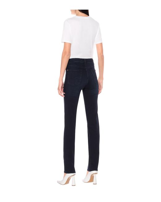 7 For All Mankind Blue Mid-Rise Straight Jeans B(AIR)