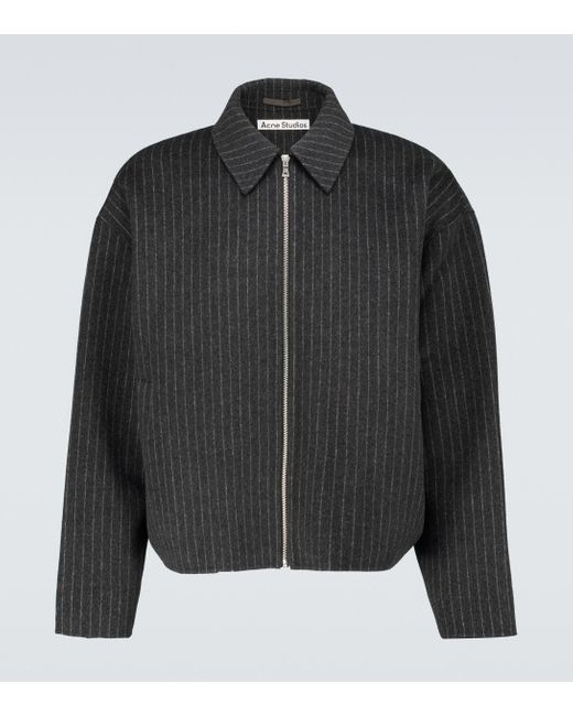 Acne Gray Pinstriped Wool Blouson Jacket for men