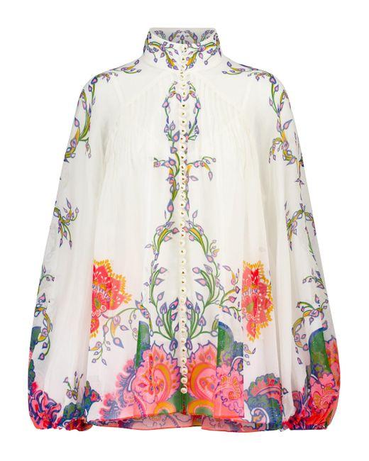 Zimmermann White Lovestruck Cotton And Silk Blouse