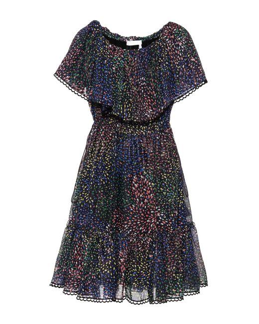 Chloé - Blue Printed Cotton And Silk-blend Crepon Dress - Lyst
