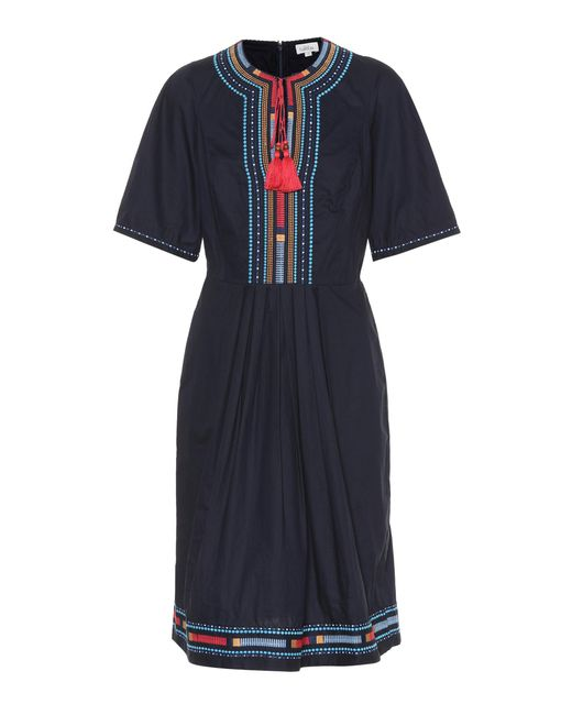 Talitha Blue Embroidered Cotton Dress