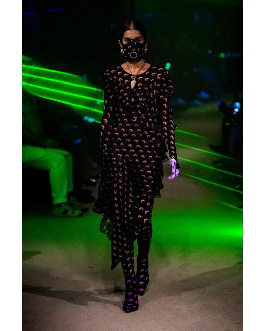 MARINE SERRE Black Printed Stretch-jersey Jumpsuit