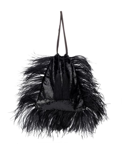 Attico - Black Velvet Pouch With Feathers - Lyst