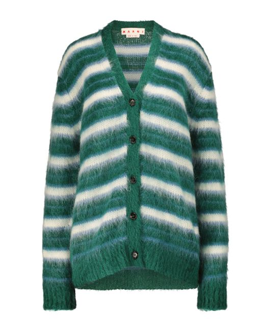 Marni Green Striped Mohair-blend Cardigan
