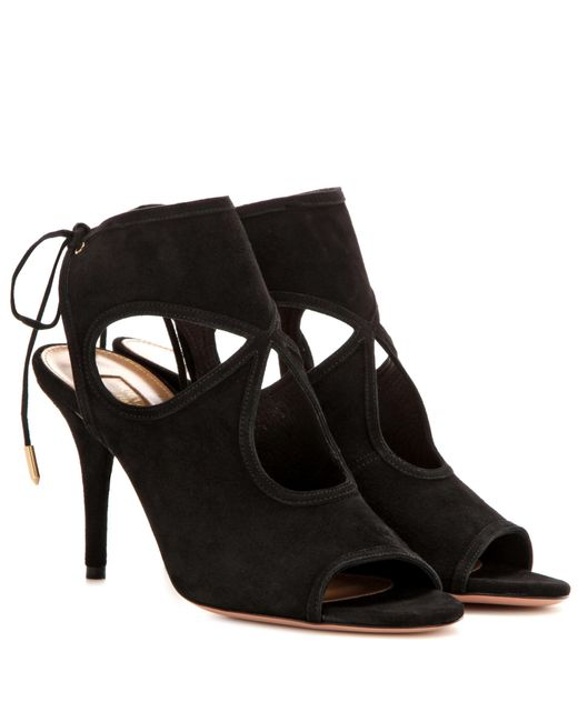 Aquazzura - Black Sexy Thing 85 Suede Sandals - Lyst