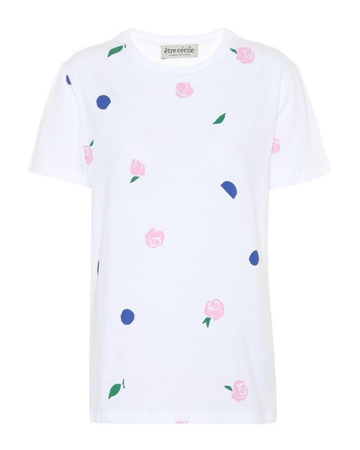 Être Cécile White Printed Cotton T-shirt