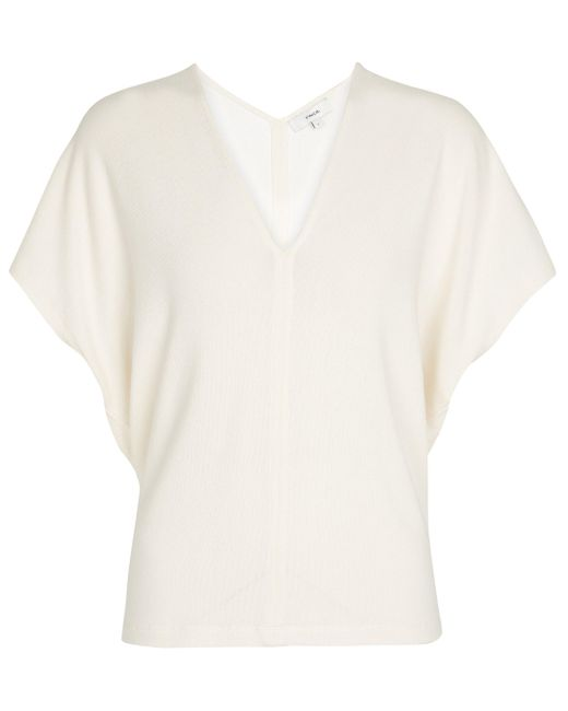 Vince White Ribbed-knit Top