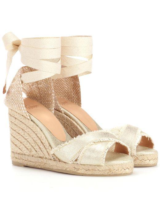 Castaner - Metallic Ankle-tie Espadrille Wedge Sandals - Lyst