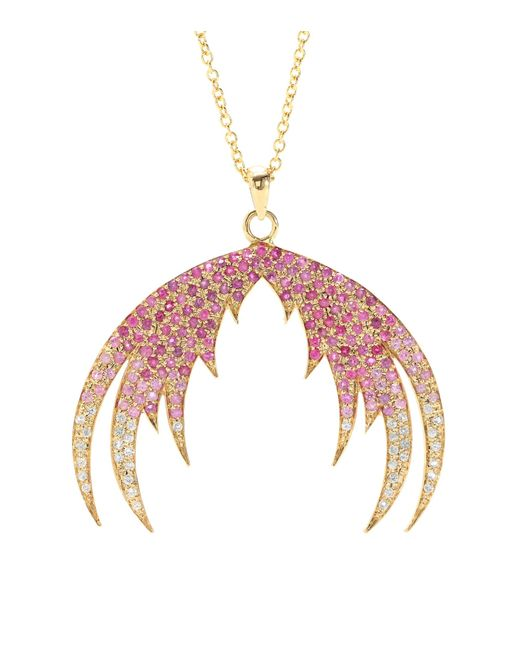 House of Waris | Plumage Ombré 18kt Gold Pendant Necklace With Pink Sapphires | Lyst
