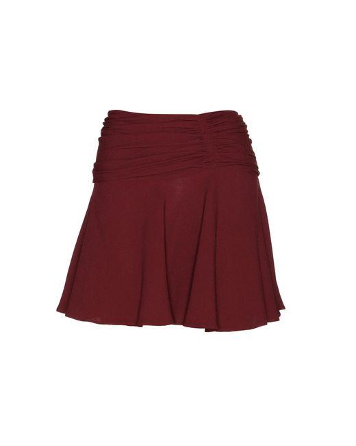 Miu Miu | Red Ruched Crepe Mini Skirt | Lyst