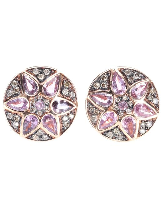 Ileana Makri | Metallic Deco Flower 18kt Rose Gold Stud Earrings With Pink Sapphires And Brown Diamonds | Lyst