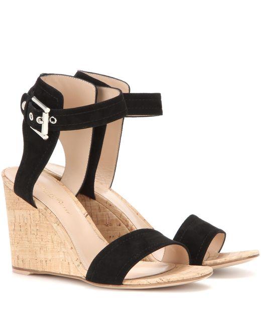 gianvito rikki suede mid wedge sandals in black lyst