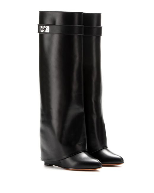 Givenchy | Black Leather Wedge Boots | Lyst