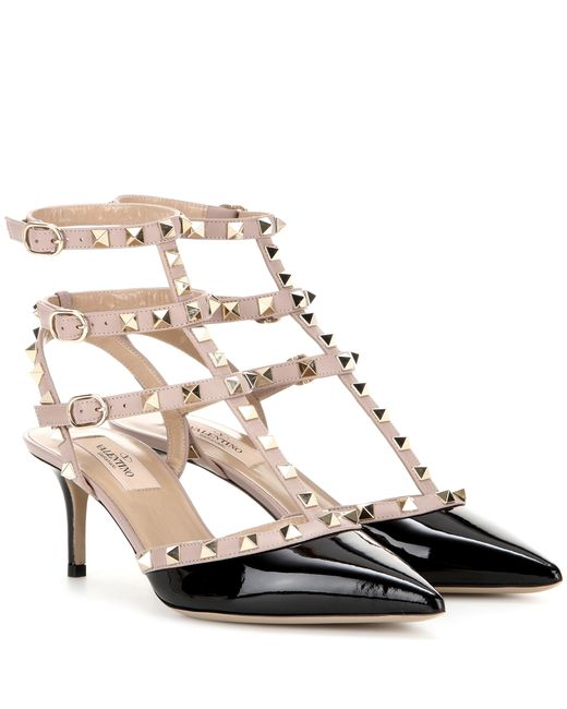 Valentino | Natural Rockstud Patent Leather Kitten-heel Pumps | Lyst