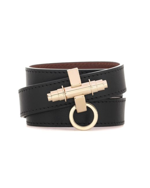 Givenchy | Black 3 Row Obsedia Leather Bracelet | Lyst