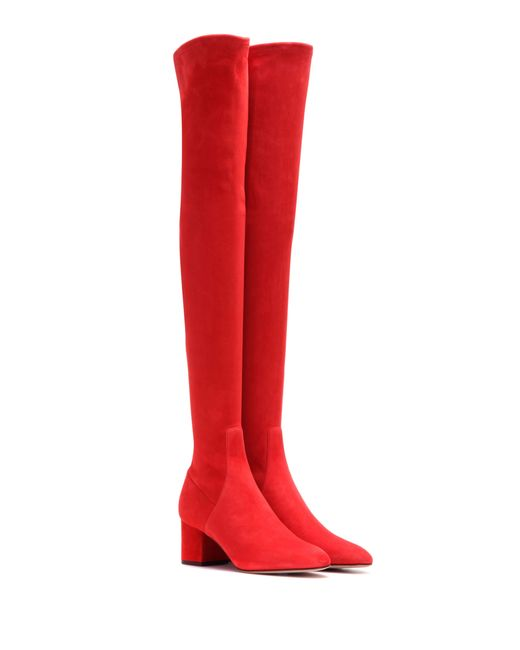 Valentino Suede Over The Knee Boots In Red Lyst