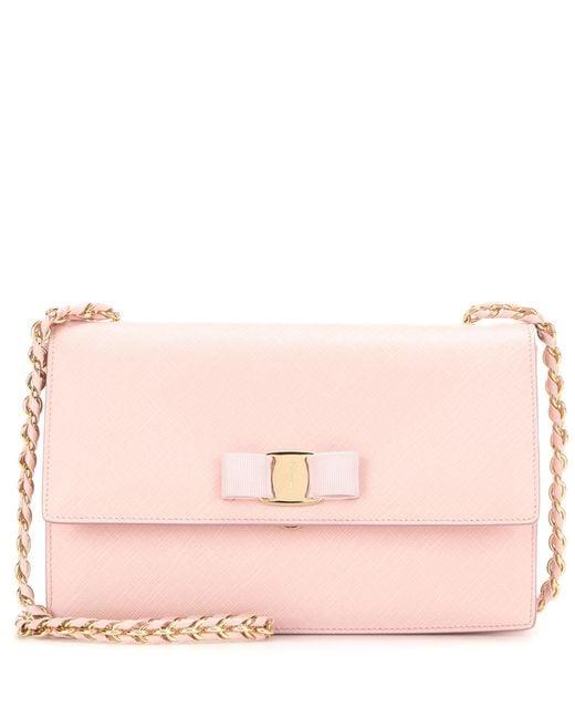 Ferragamo | Pink Ginny Leather Shoulder Bag | Lyst