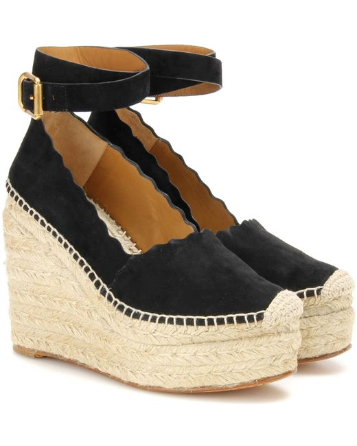 Chlo 233 Lauren Suede Wedge Espadrilles In Black Lyst