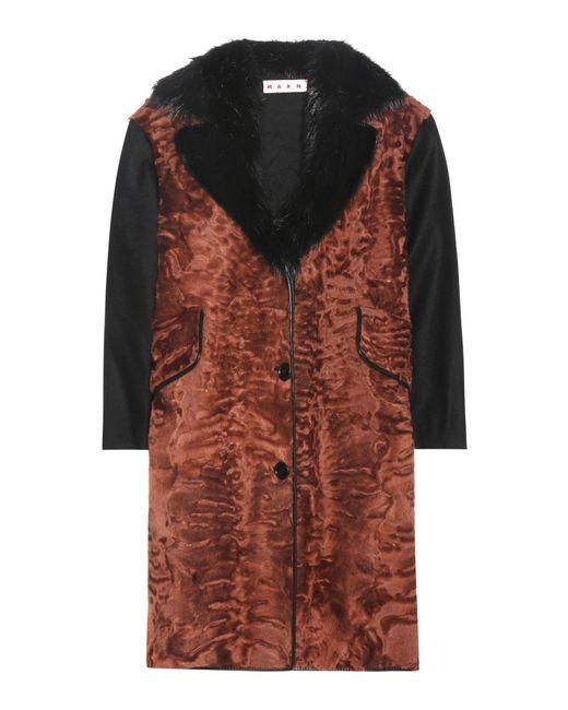 Marni | Brown Metallic-jacquard Wool-blend Coat | Lyst