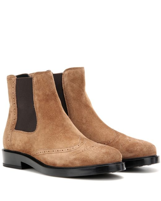 tod s suede chelsea boots in brown lyst
