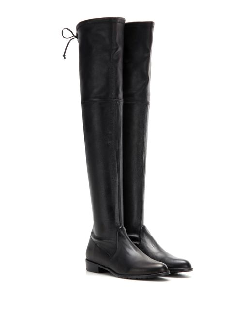 Stuart Weitzman | Black Lowland Skimmer Leather Over-the-knee Boots | Lyst