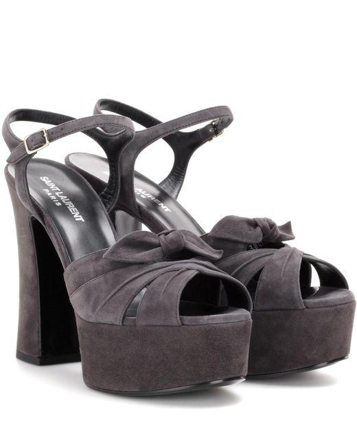 Saint Laurent   Gray Candy Suede Platform Sandals   Lyst
