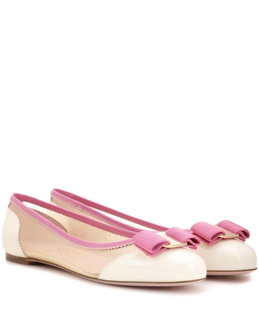 Ferragamo | Pink Varina Net Patent Leather Ballerinas | Lyst