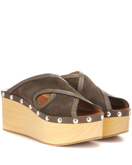 Isabel Marant | Brown Zipla Suede And Wood Sandals | Lyst