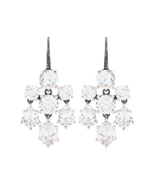 Bottega Veneta | White Crystal-embellished Silver Earrings | Lyst