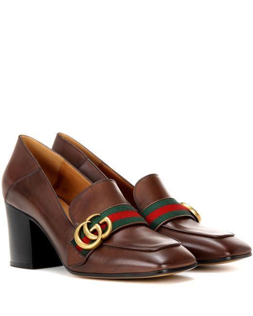 Gucci   Brown Leather Loafer Pumps   Lyst