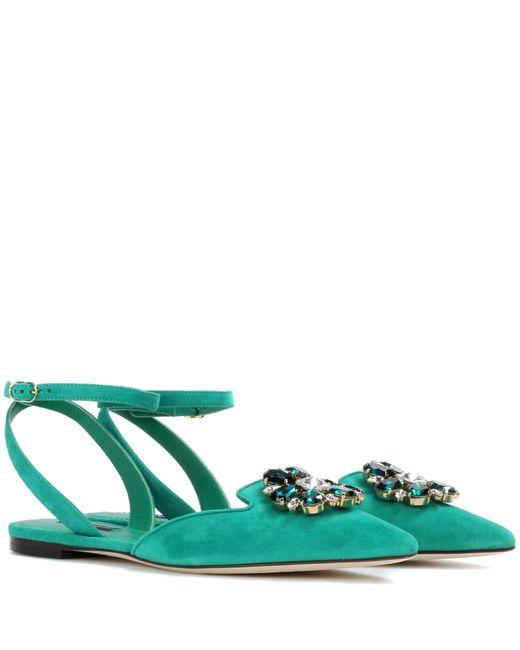 Dolce & Gabbana   Green Bellucci Embellished Suede Flat   Lyst