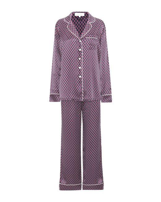 Olivia Von Halle   Purple Lila Printed Silk Pajamas   Lyst
