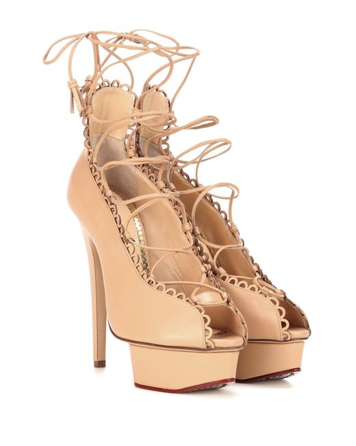Charlotte Olympia   Natural Gladys Plateau Leather Pumps   Lyst