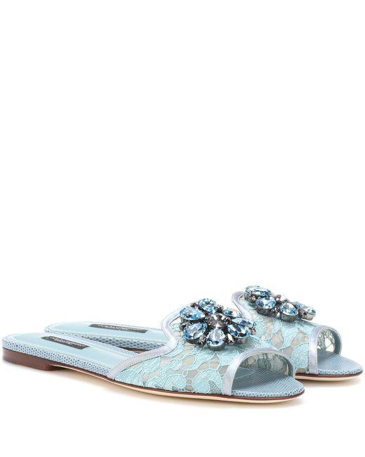 Dolce & Gabbana | Blue Bianca Embellished Slip-on Sandal | Lyst