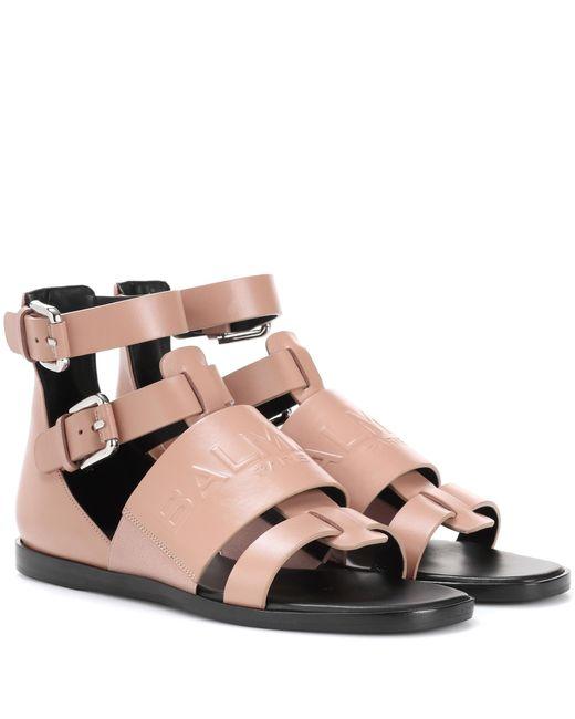 Balmain - Pink Leather Sandals - Lyst