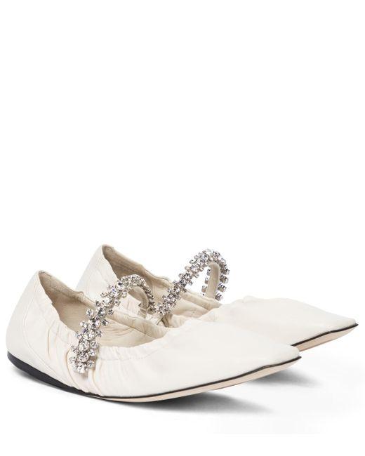 Jimmy Choo White Gai Embellished Leather Ballet Flats