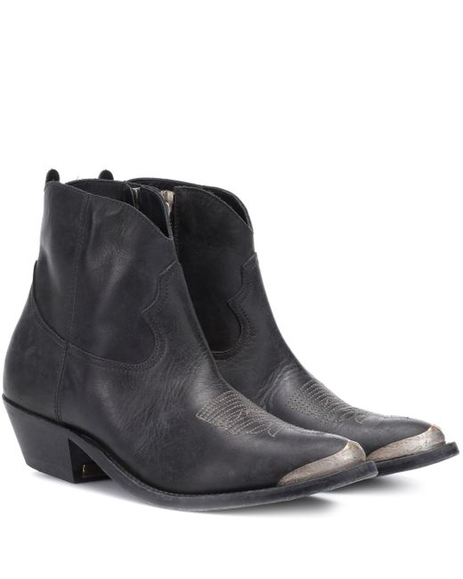 Golden Goose Deluxe Brand Black Young Leather Ankle Boots
