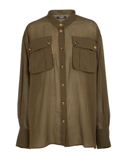 Balmain Green Longline Cotton Shirt
